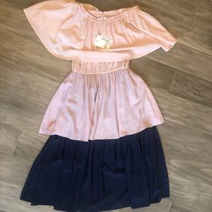 Off the shoulder dress pink/purple/navy NWT